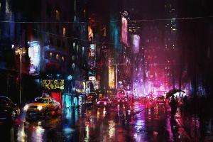 urban wet street reflection painting cityscape pink neon glow darek zabrocki  neon city lights