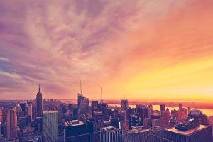usa cityscape sky new york city sunlight