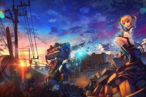 utility pole sunset anime city anime girls destruction artwork power lines engines