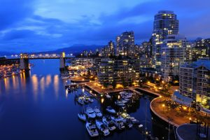 vancouver city city lights bridge harbor boat
