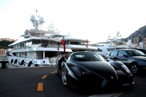 vehicle boat enzo ferrari road yacht city sea monaco ferrari enzo black yachts car ferrari