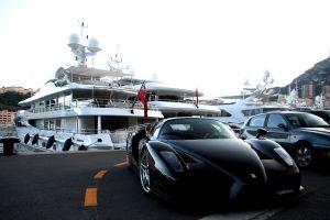 vehicle boat enzo ferrari road yacht city sea monaco ferrari enzo black yachts car ferrari