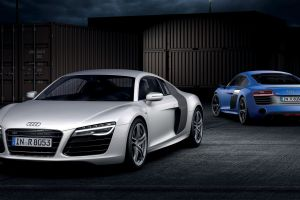 vehicle car audi blue cars front angle view silver cars audi r8 audi r8 type 42 audi r8 v10 plus