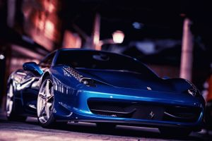 vehicle car blue cars night ferrari ferrari 458 italia