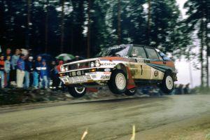 vehicle car lancia delta integrale jumping racing