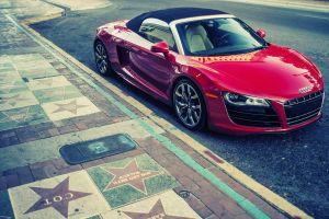 vehicle car urban audi red cars