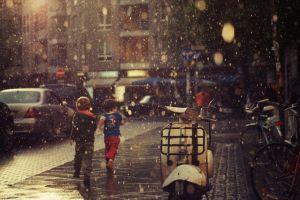vehicle children street rain city urban