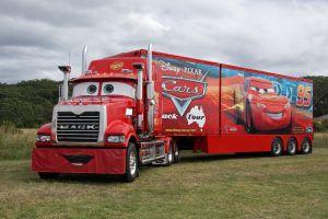 vehicle disney truck pixar animation studios numbers trucks red