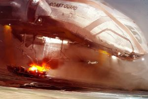 vehicle explosion futuristic coast guard artwork
