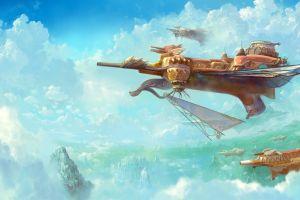 vehicle fantasy art clouds sky airships