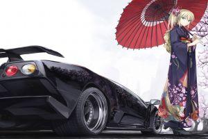 vehicle lamborghini anime yukata car anime girls lamborghini diablo