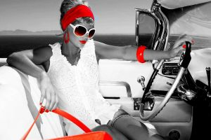 vehicle model women women with glasses red white car selective coloring car interior