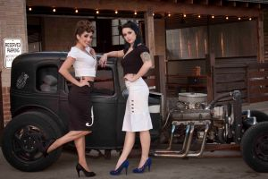 vehicle tattoo pinup models high heels car women with cars women smiling