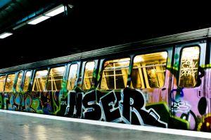 vehicle train subway graffiti
