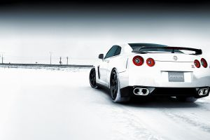 vehicle winter nissan gtr white cars landscape supercars high key nissan gt-r car super car  nissan snow
