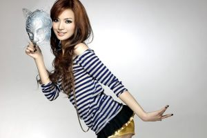 venetian masks model women mask simple background striped clothing asian smiling