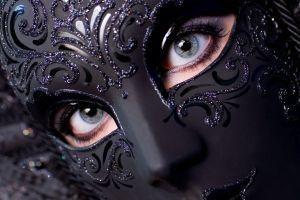 venetian masks women eyes blue eyes black