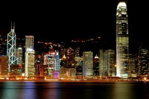victoria harbour cityscape city lights hong kong city skyscraper