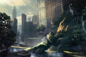 video games apocalyptic video game art crysis 2 new york city
