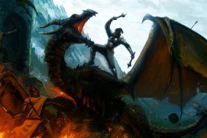 video games castle fantasy art war soldier dragon the elder scrolls v: skyrim wings fire digital art fighting