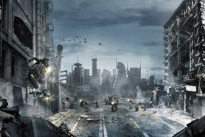 video games cityscape futuristic science fiction