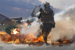 video games combat fire explosion soldier burning