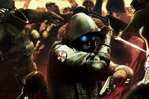 video games gas masks umbrella corporation digital art zombies resident evil