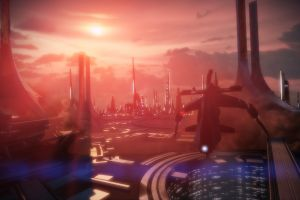 video games space futuristic building mass effect 3