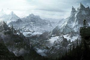 video games the elder scrolls v: skyrim mountains fantasy art