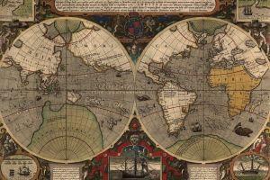 vintage diagrams paper world map map