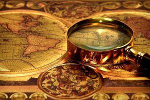 vintage map magnifying glasses