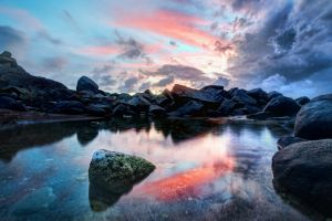 virgin islands clouds water pond sunset landscape nature caribbean rock