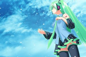 vocaloid anime girls twintails hatsune miku detached sleeves anime skirt