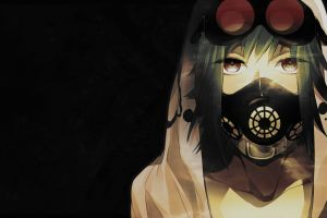 vocaloid black background anime looking at viewer megpoid gumi anime girls mask