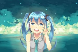 vocaloid peace blue hair twintails anime girls hatsune miku anime
