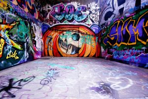 wall skull graffiti urban colorful