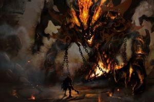 warrior artwork chains fantasy art demon