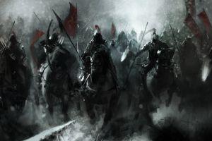 warrior fantasy art banner winter war horse medieval knight battle artwork