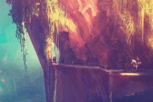 warrior fantasy art mountains colorful valley artwork hills