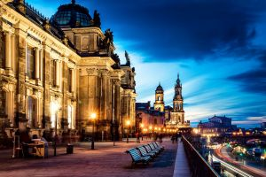 water cityscape lights germany church building bench long exposure city dresden photography river evening dusk road