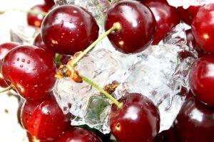 water drops fruit ice cherries (food) red