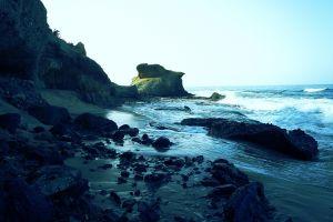water landscape coast rock sea
