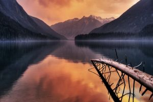 water mountains evening nature landscape