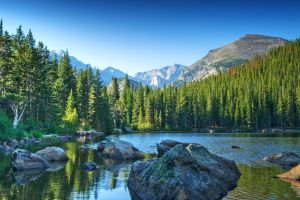 water mountains trees nature