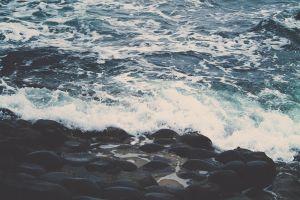 water nature wet waves blue foam rock sea stones filter