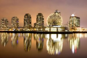 water reflection cityscape lights building vancouver