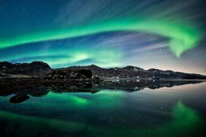 water reflection nature stars sky aurorae night landscape iceland