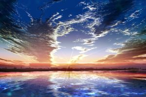 water sky fantasy art anime cityscape clouds