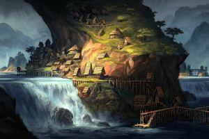 waterfall fantasy art village