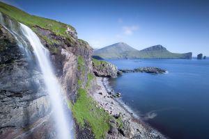 waterfall faroe islands nature mountains beach coast